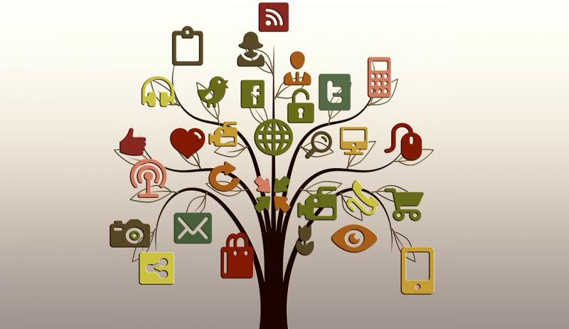 Grafikk av et tre som illustrerer mange digitale løsninger.