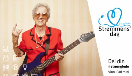 En gammel, rocka mann som spiller elgitar for å reklamere for strømmens dag.